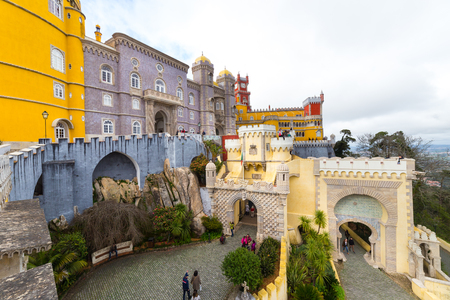 SINTRA, PORTUGAL - MARCH 01, 2017: Detail of the external facade of the Pena National Palace, famous landmark, in Sintra, Portugal