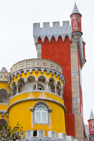 Detail of the external facade of the Pena National Palace, famous landmark, in Sintra, Portugal Editorial