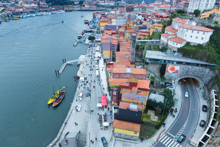 View of the quarter of Ribeira from old Dom Luis Bridge and the Douro River, Porto, Portugal