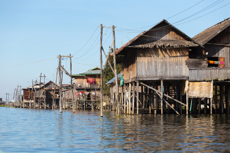 INLE LAKE, MYANMAR - NOVEMBER 30, 2014: Floating villages of Inle Lake, in Myanmar
