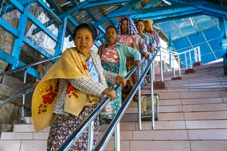 BAGAN, MYANMAR - NOVEMBER 28, 2014: stairway to climb on top of Mount Popa