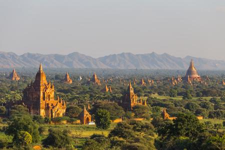 Bagan temples at sunset, in Myanmar