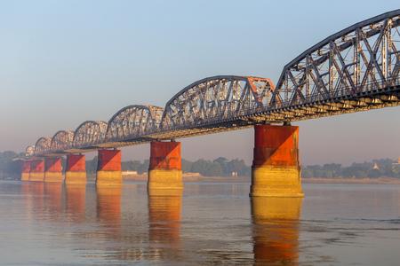 Railway bridge on the  Irrawaddy river in Mandalay, Myanmar.