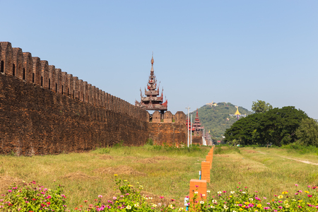 Moat and Fortress Walls, the Mandalay Fort, in Mandalay, Myanmar
