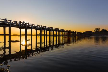 U Bein? ? ?,?? ? s Bridge, the longest teak footbridge of the world, in Amarapura, near Mandalay, Myanmar