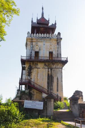 Old Nanmyint  Watch Tower in Inwa, near Mandalay, in Myanmar Stock Photo
