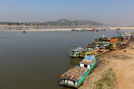View of Sagain Hill, near Mandalay, in Myanmar