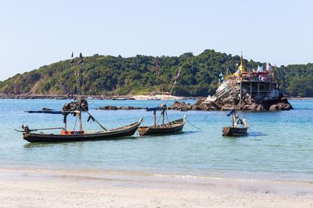 Fishing boats in Thandwe village, Ngapali beach, Myanmar Stock Photo