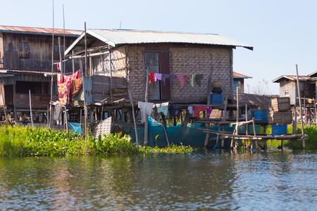 Floating villages of Inle Lake, in Myanmar Stock Photo