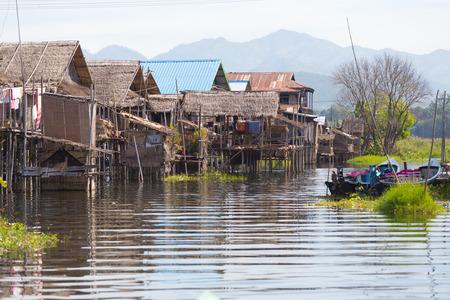 Floating villages of Inle Lake, in Myanmar Banco de Imagens