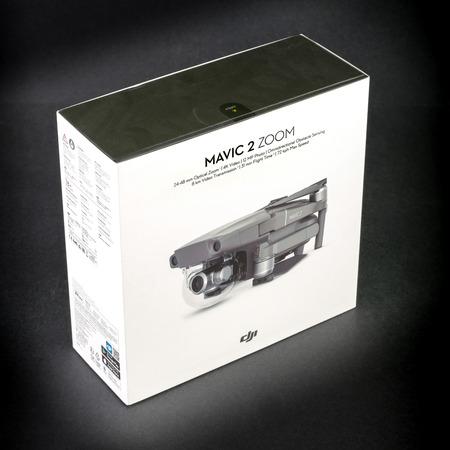 ROME, ITALY - SEPTEMBER 8, 2018: close-up photograph of the box of the new Mavic 2 Zoom DJI Editorial