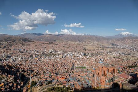 Panoramic view from the cableway of La Paz, in Bolivia