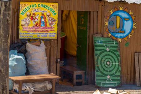 La Paz, Bolivia - september 30, 2018: fortune teller's shacks in the El Alto neighborhood of La Paz, Bolivia