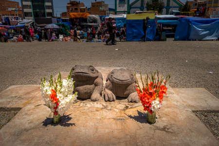 La Paz, Bolivia - september 30, 2018: Magic symbols near the fortune teller's barracks in the El Alto neighborhood of La Paz, Bolivia