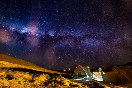 Uyuni, Bolivia - october 02, 2018: starry night at Jukil Community Lodge, a salt hotel in Santiago de Agencha, a small village in the Salar de Uyuni, in Bolivia