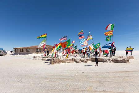 Uyuni, Bolivia - october 01, 2018: Salt hotel near the Dakar Bolivia Monument in Salar de Uyuni, near Colchani, in Bolivia