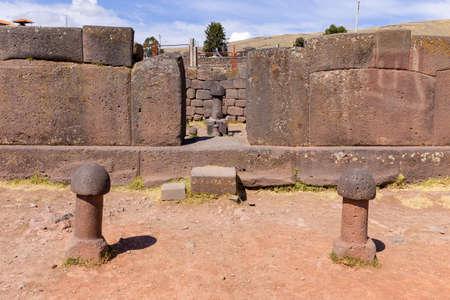 Inca prehistoric ruins in Chucuito near Puno, Titicaca lake area. This photo present stone phallus in the temple of fertility (templo de la fertilidad)
