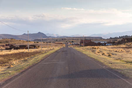 Scenic route from Puno to the Archaelogical Site of Sillustani, in Peru