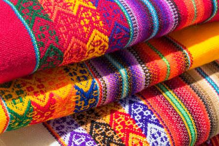Handmade alpaca textile products in Arequipa, Peru