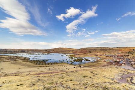 Panoramic view from Burial Towers (Chullpas) at the archaelogical Site of Sillustani on the shores of Lake Umayo near Puno, in Peru