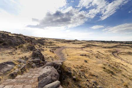 Archaelogical Site of Sillustani on the shores of Lake Umayo near Puno, in Peru