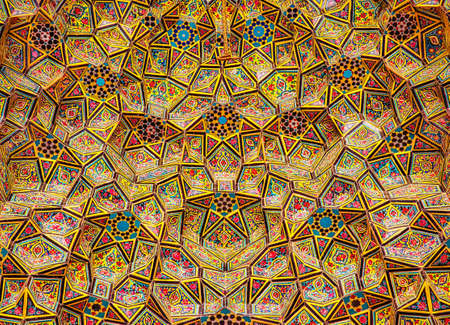 SHIRAZ, IRAN - APRIL 26, 2015: Nasir Al-Mulk Mosque in Shiraz, Iran, also named in popular culture as Pink Mosque. It was built in 1888 and is known in Persian as Masjed-e Naseer ol Molk.