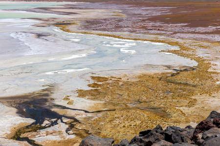 Tuyajto Lagoon on the altiplano in the Atacama Desert in the Antofagasta region of northern Chile, South America.