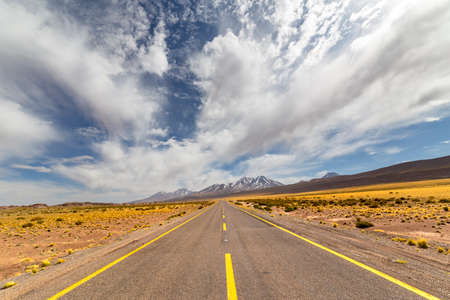 View from the Route 23, the scenic road in the north of Chile, running from Calama to Sico Pass, the border with Argentina. The road passes near Miscanti Lagoon, Salar de Talar and Tuyajto Lagoon