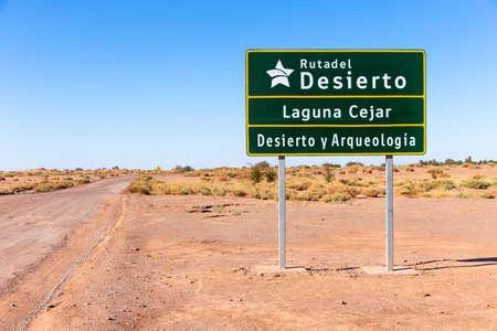 Signboard at the entrance of the Laguna Lagoon Cejar in the Atacama Desert, Antofagasta, Chile