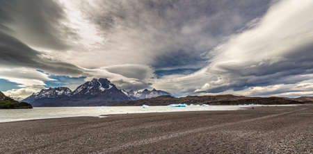 View of glacier at Lake gray and Isla de Los Hielos, Torres del Paine National Park, in Chile, South America