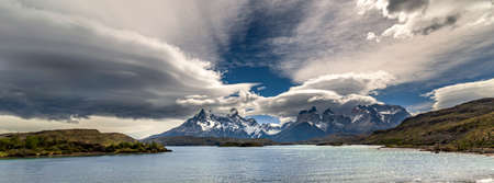Pehoe Lake, Torres del Paine National Park, in Chile, South America Stock Photo