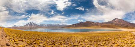 Miscanti Lagoon on the altiplano in the Atacama Desert in the Antofagasta region of northern Chile, South America