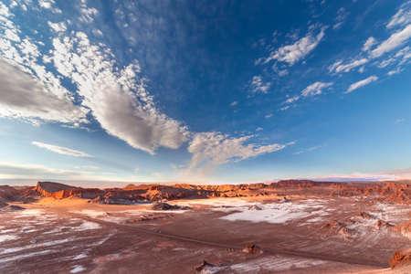 Moon Valley, Valle de la Luna, at sunset, in Atacama desert, Chile, South America