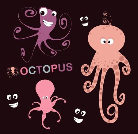 set of 3 lovely octopus Reklamní fotografie - 12290653