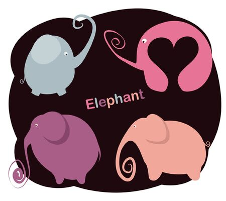 Vector set of abstract drawing Elephant