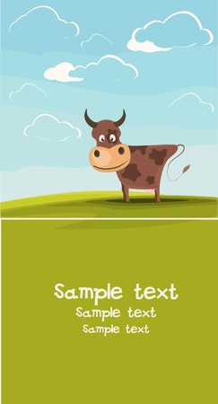 Cows grazing in the meadow. Available space for your text. Vector