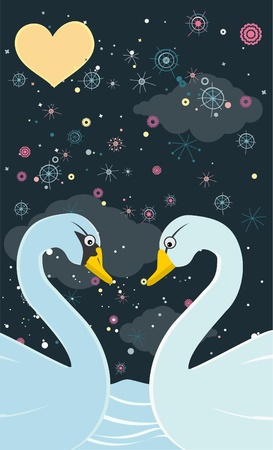 Lovers swans. Fantastic vector illustration Vector