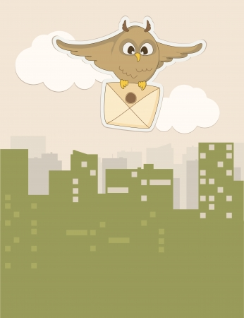 flying owl with an envelope Vector