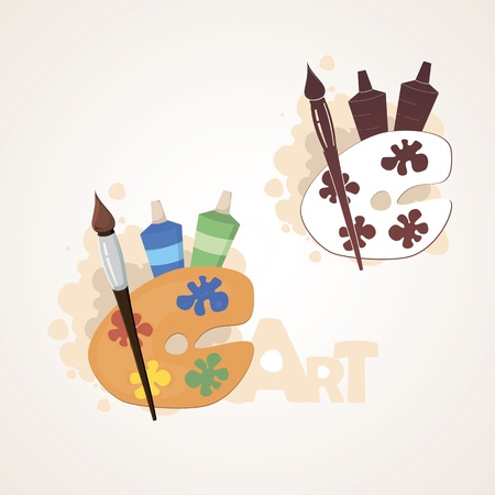Art palette with paint brush and paint Stock Vector - 14384970