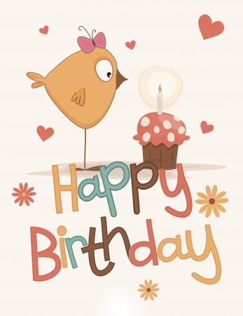 Postcard birthday with a nice chick and some cake Illustration
