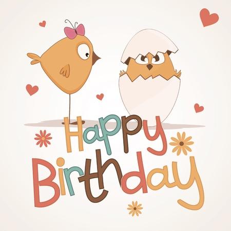 despacio: Postal de cumpleaños con los polluelos nacidos de los huevos Vectores