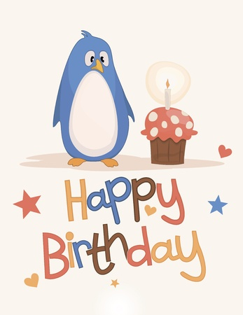 Postcard to the day of the birth of a penguin and cake Vector