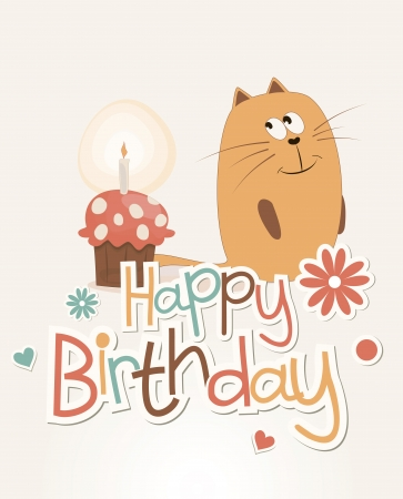 Postcard birthday with a sweet cat and cake Illustration