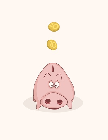 Pink piggy bank Stock Vector - 14585203