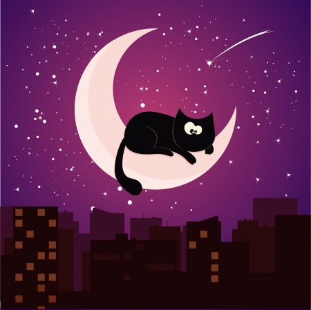 cat on moon Stock Vector - 14585249