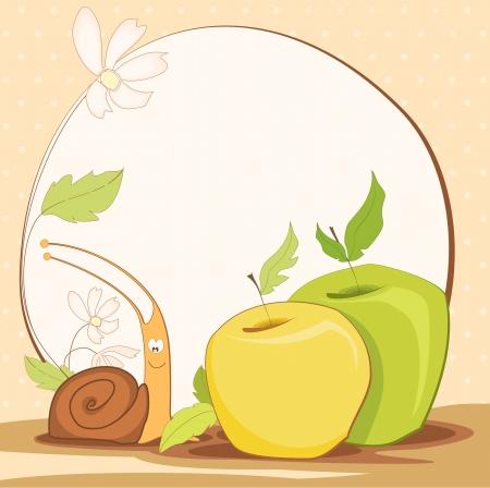 cute frame design with snail Vector