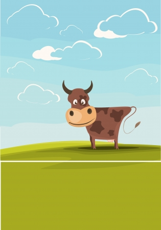 Cows grazing in the meadow  Vector
