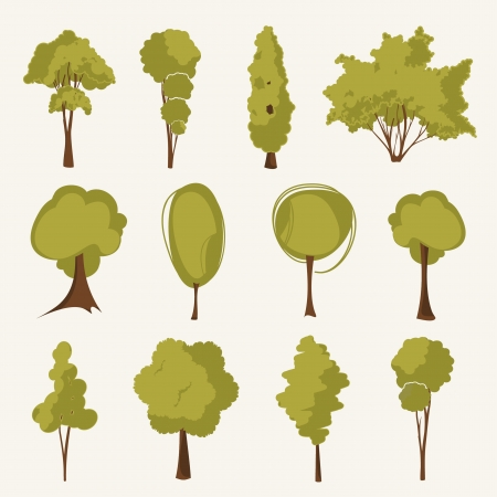 illustration tree set Vector