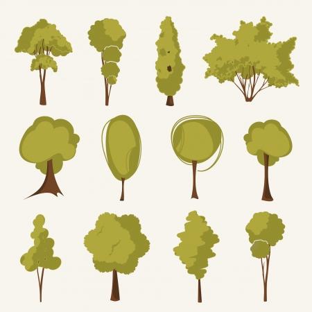 sauces: Ilustraci�n conjunto de �rboles Vectores