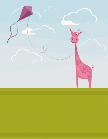 cute pink giraffe with the kite Illustration
